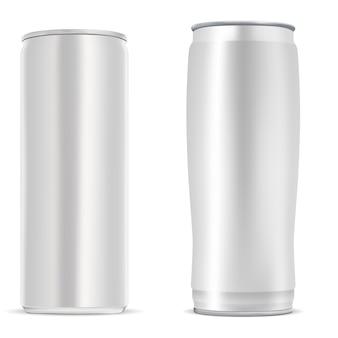 Em branco de lata de metal prata de bebida fria