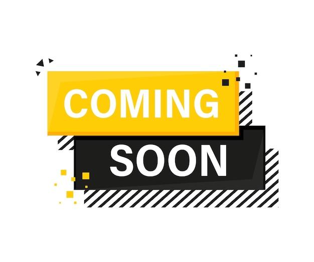 Em breve, banner amarelo megafone em estilo 3d em branco
