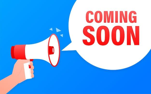 Em breve, banner azul do megafone em estilo 3d. ilustração.