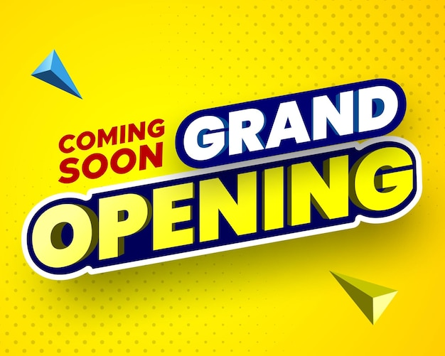 Em breve, banner de inauguração em ilustração vetorial de fundo amarelo