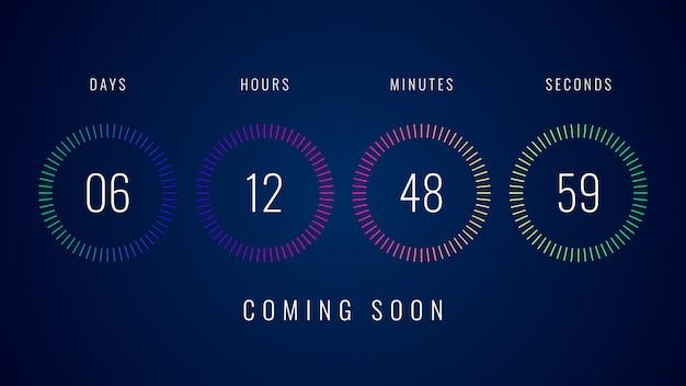 Em breve ilustração com contador de contagem regressiva digital colorido contador temporizador