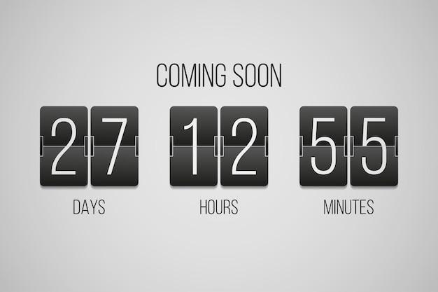 Em breve, inverta o cronômetro de contagem regressiva do relógio em um fundo cinza