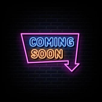 Em breve, modelo de design de vetor de sinais de néon estilo néon