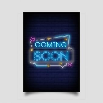 Em breve, no estilo neon. em breve sinais de néon.