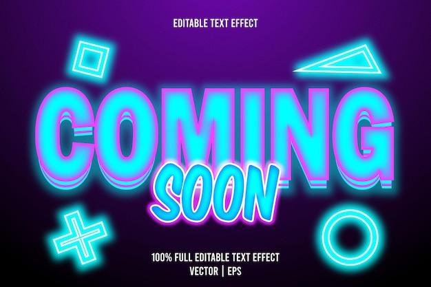Em breve, texto editável com efeito de 3 dimensões em relevo estilo néon