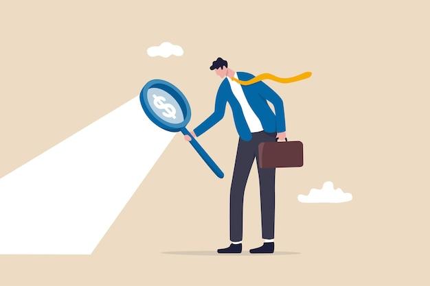 Em busca de oportunidade de investimento, pesquisa de mercado de ações.