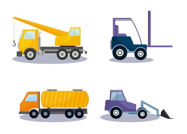 Em conjunto de veículos de construção