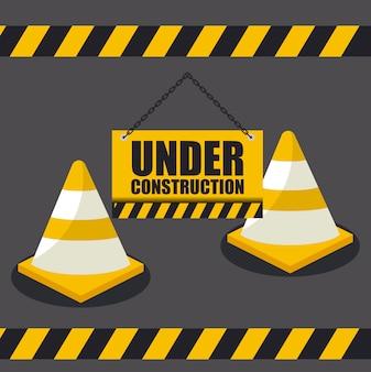 Em construção com cones para site