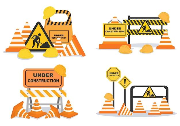 Em construção com ilustração de design plano de símbolo