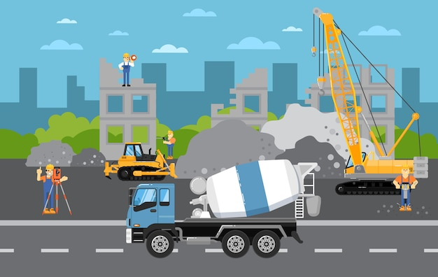 Em construção com maquinaria
