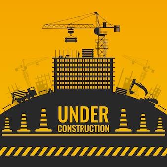 Em construção, design de silhuetas com construção e equipamentos na fita de barreira de colina e cones