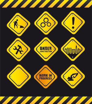 Em construção e cuidado sinal de trânsito