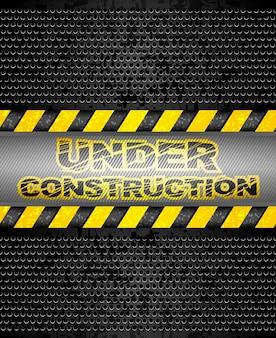 Em construção, fundo preto metálico. vector 10eps