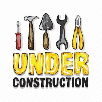 Em construção ícones de diferentes ferramentas