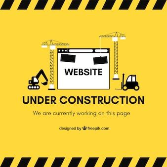 Em construção modelo de web em estilo plano