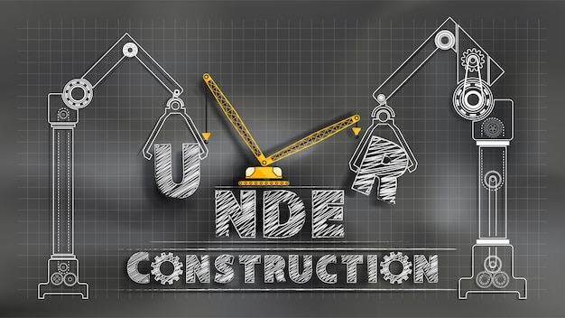 Em construção. quadro-negro misturado com técnica de corte de papel