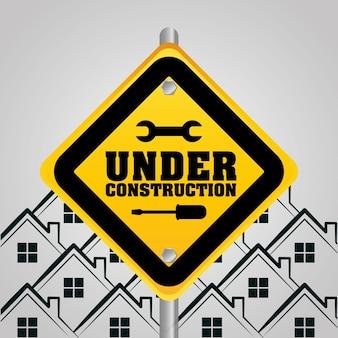 Em construção sinal casas fundo
