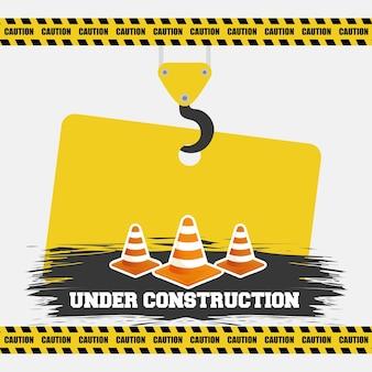 Em construção sinal de aquecimento de tráfego de cone pendurado