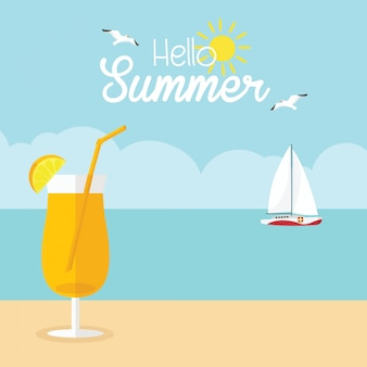 Em férias de verão com coquetel na praia e veleiro flutuando no mar