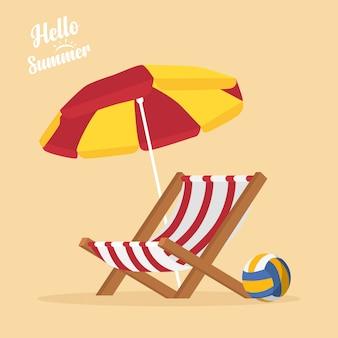 Em férias de verão, itens de verão na praia - vôlei de praia, cadeira de praia, guarda-sol