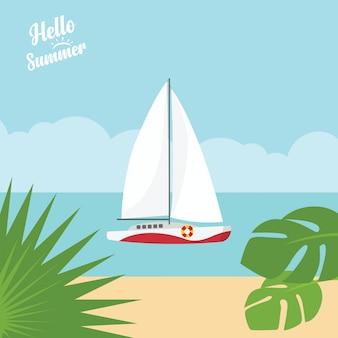Em férias de verão, mar noite azul tropical e paisagem de praia com iate de luxo