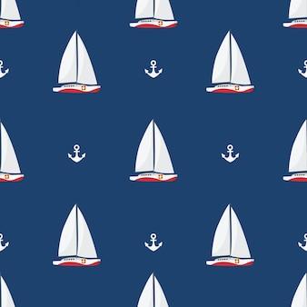 Em férias de verão, navios à vela e âncoras no fundo branco