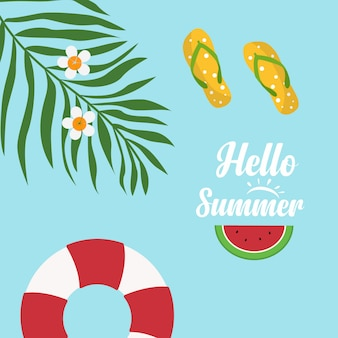 Em férias de verão, olá verão texto com sandálias, flor plumeria, nadar tubo, melancia, folhas de coco
