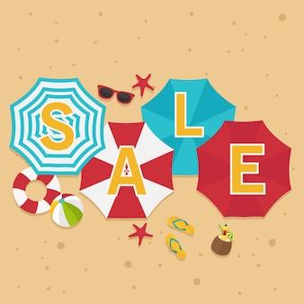 Em férias de verão, venda de verão em guarda-sol colorido