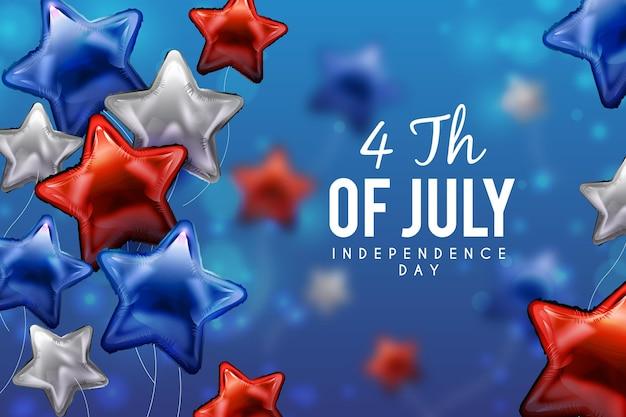 Em forma de estrela balões eua dia da independência de fundo