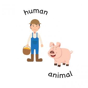 Em frente a ilustração vetorial humana e animal