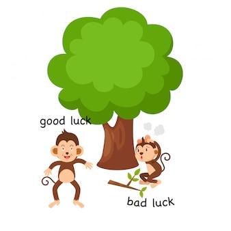 Em frente boa sorte e má sorte ilustração