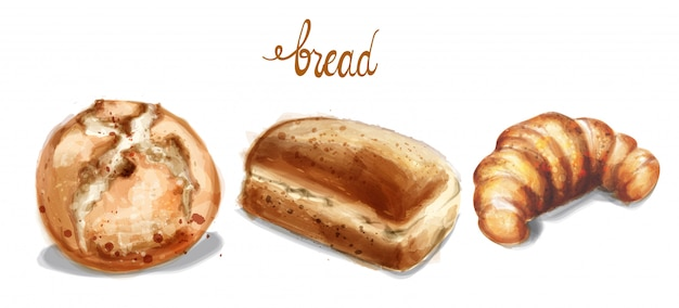 Em ilustração de conjunto de pão em aquarela