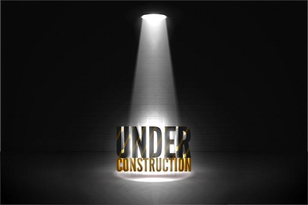 Em ilustração vetorial de construção em um fundo escuro de grunge de parede de tijolo em um brilho de holofote. texto listrado no feixe brilhante dos holofotes isolado no preto.