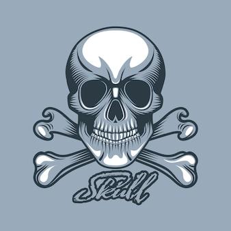 Em linha reta olhando crânio com ossos e inscrição