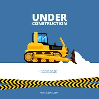 Em página da web de construção. escavadeira e perigo