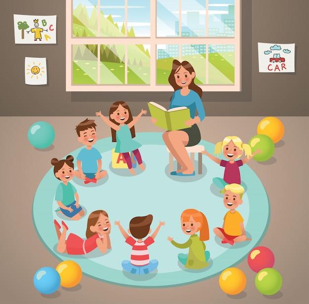 Em professor de sala de aula e atividade de crianças no jardim de infância