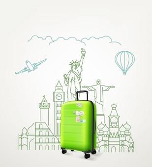 Em todo o conceito do mundo com a mala de viagem verde. ilustração vetorial com viagens de saco