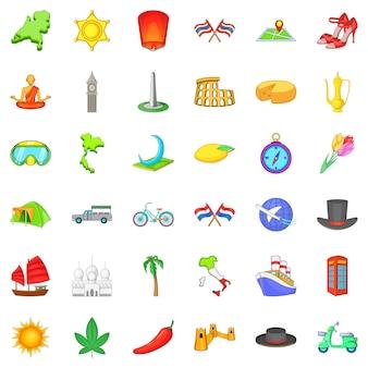 Em todo o mundo conjunto de ícones, estilo cartoon