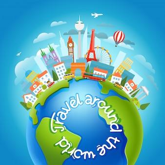 Em todo o mundo, viajar conceito com logotipo caligráfico