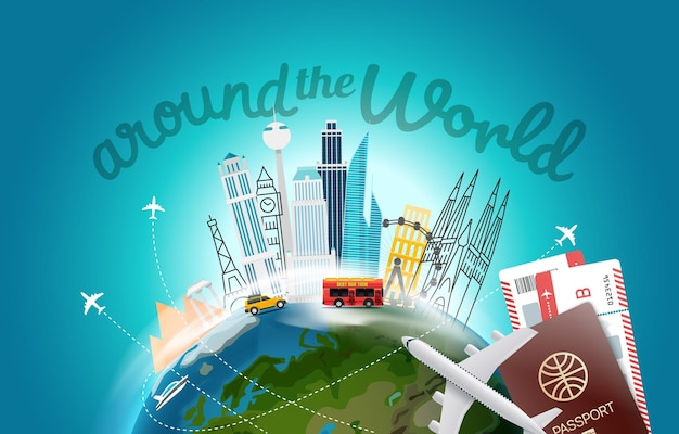 Em torno do conceito mundial com logotipo