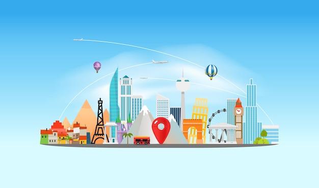 Em torno do conceito mundial. destino de viagem