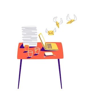 Em uma mesa vermelha está um laptop amarelo com várias xícaras de café e uma pilha pesada de papéis. local de trabalho desenhado à mão em estilo cartoon.