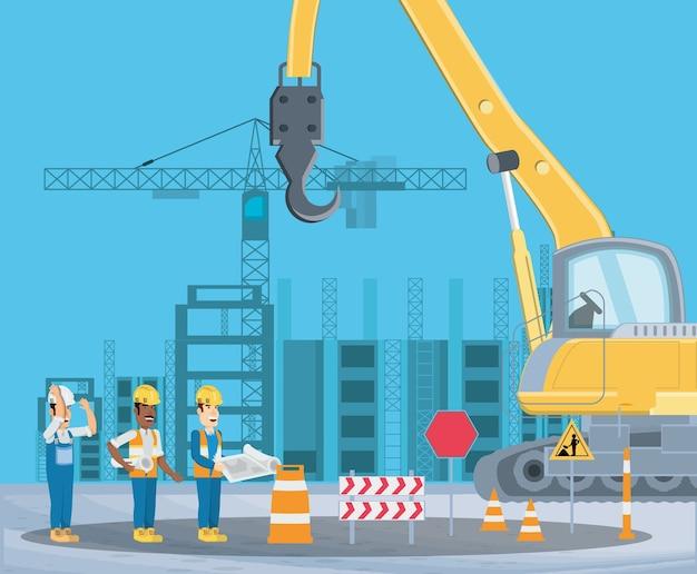 Em zona de construção com enginners e caminhão guindaste