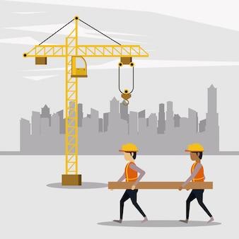 Em zona de construção com trabalhadores