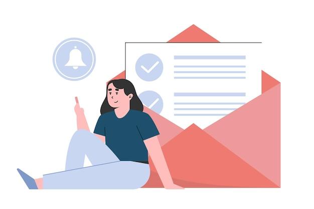 Email marketing e mensagem com mulher segurando smartphone