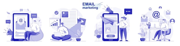Email marketing isolado definido em design plano pessoas enviam mala direta de publicidade promoção de negócios