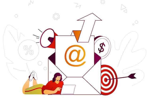 Email marketing web conceito notícias e correspondências publicitárias para promoção de negócios