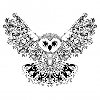 Emaranhado zen estilizado, coruja negra, mão desenhada