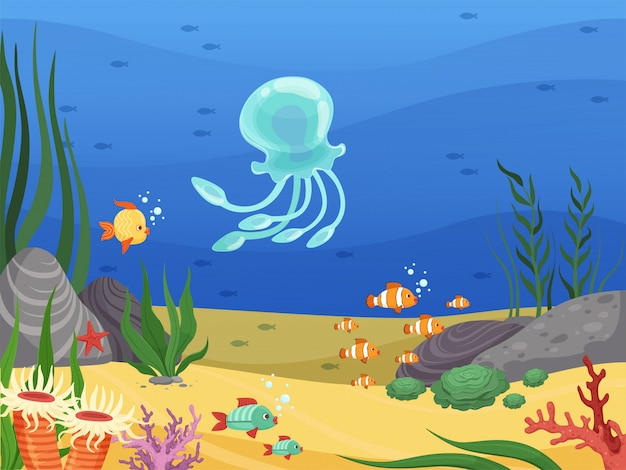 Embaixo da agua. fundo de vida marinha com peixes e plantas aquáticas algas cartum paisagem