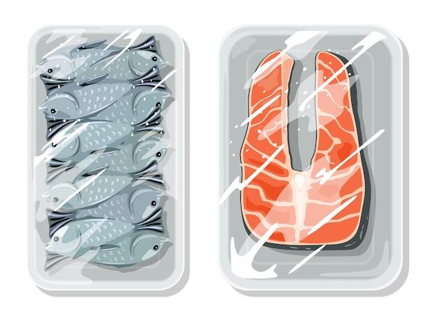 Embalagem a vácuo para melhor manter os alimentos seguros, armazenamento, armazenamento, transporte de peixes do oceano, rio, mar.